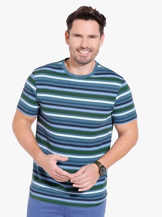 Tričko - námořnická modrá-melír-proužek