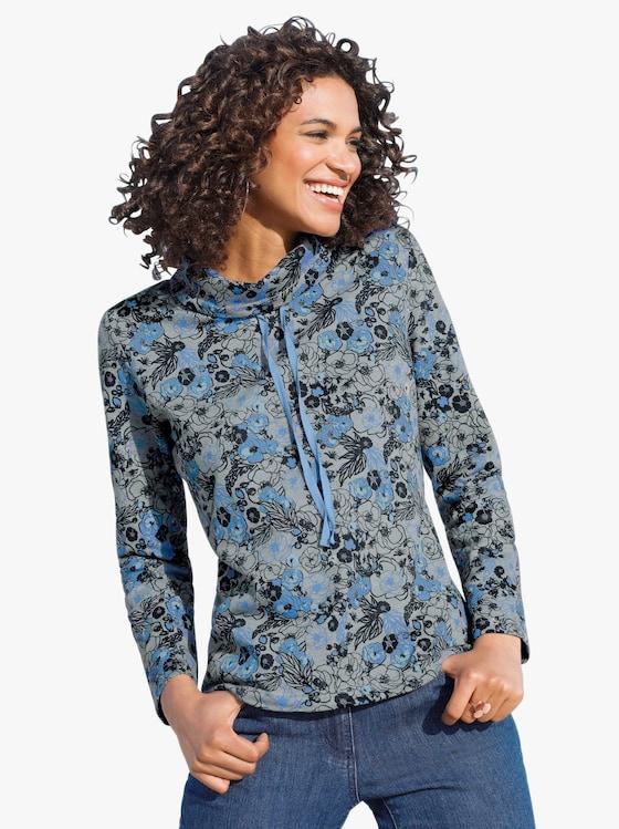 Sweatshirt in blau grau gemustert   WITT WEIDEN