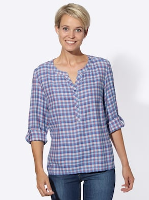 Collection L Blouse - koraal/wit geruit