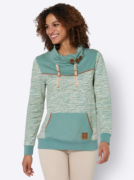 Sweatshirt - jade-weiß-meliert