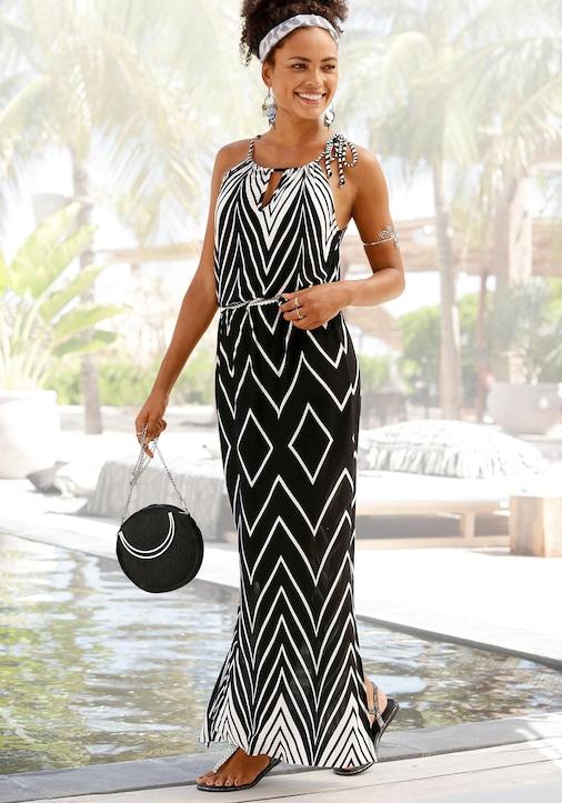 LASCANA Maxi-jurk - zwart/wit