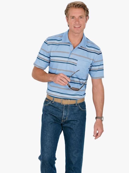 Poloshirt - hellblau-gestreift