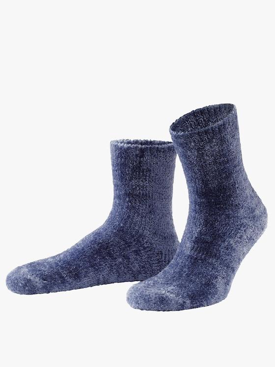 Hebké ponožky - Modrá + šedá