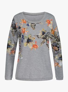 Sweatshirt - hellgrau-bedruckt