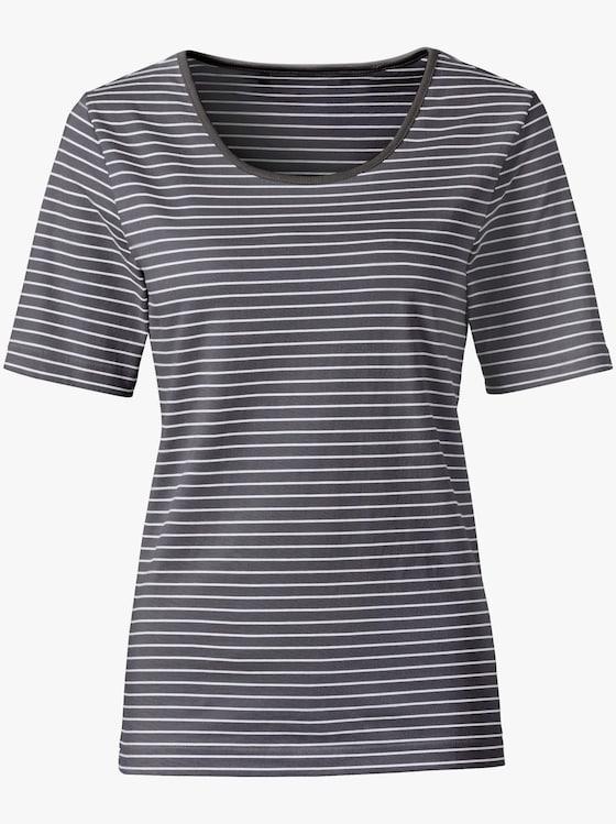 Shirt - anthrazit-weiß-gestreift