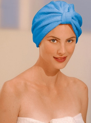 Haarturban - weiß + hellblau