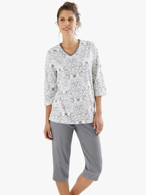 Capri-Schlafanzug - hellgrau-bedruckt