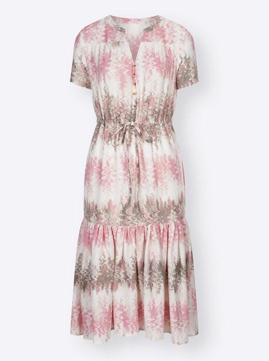 Kleid - rosenquarz-khaki-bedruckt