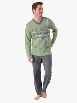 Schlafanzug - grün-anthrazit