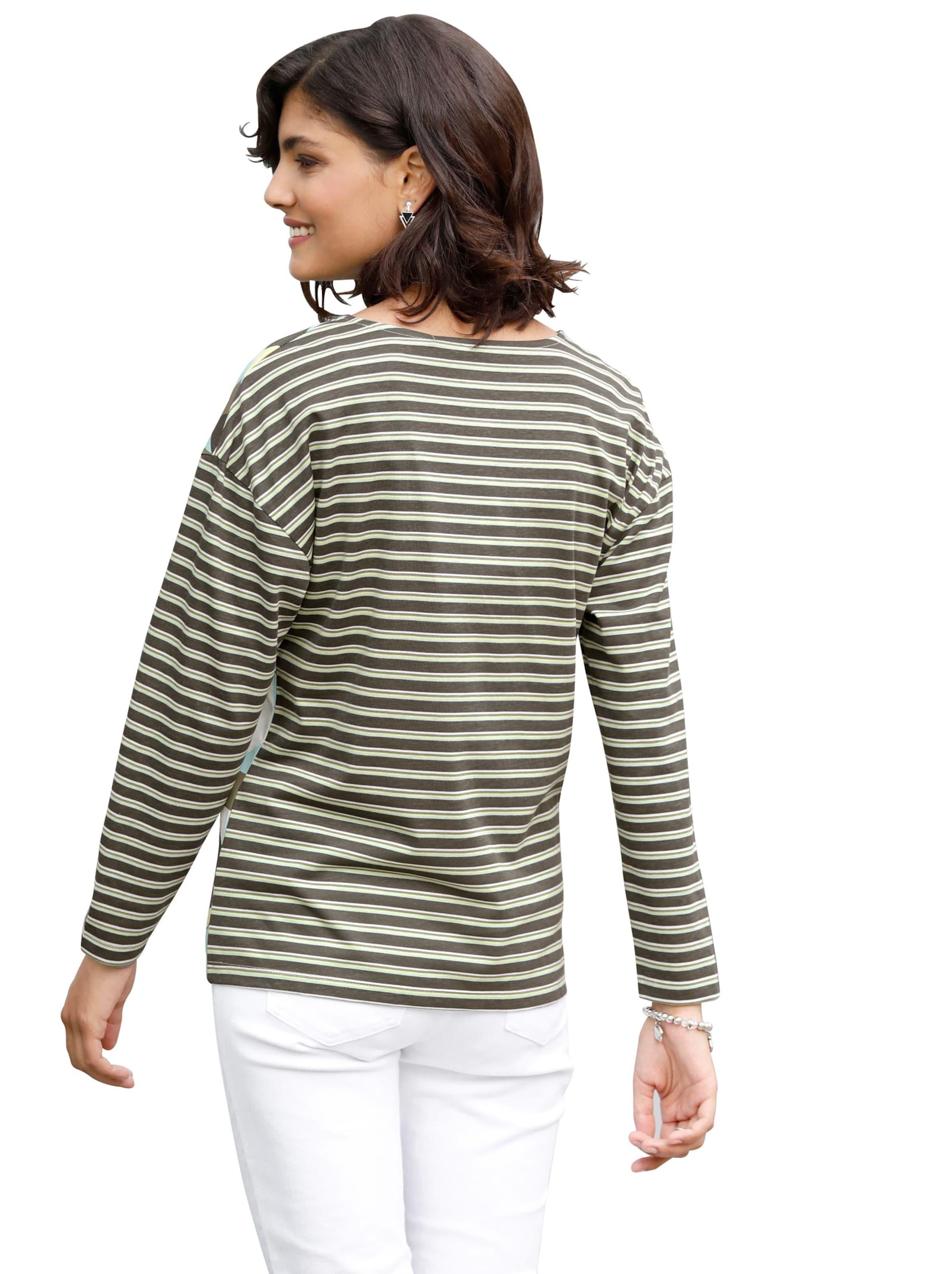 Damen Shirt khaki-gemustert