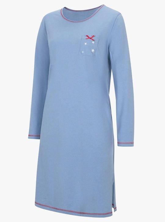 wäschepur Nachthemden - blau-bedruckt + blau