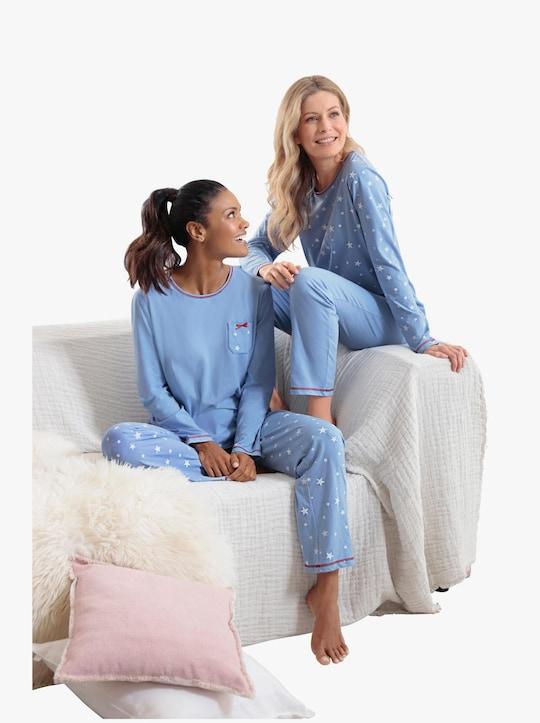 wäschepur Schlafanzüge - blau-bedruckt + blau