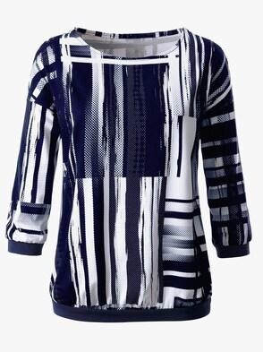 Shirt - marine-ecru-bedruckt