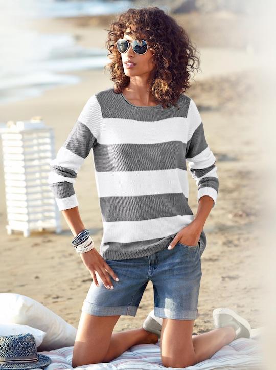 Pullover - grau-weiß