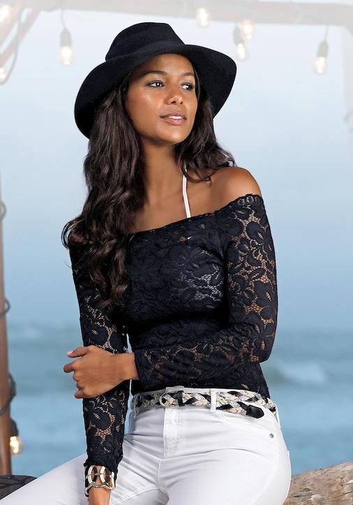 LASCANA Spitzenshirt - schwarz