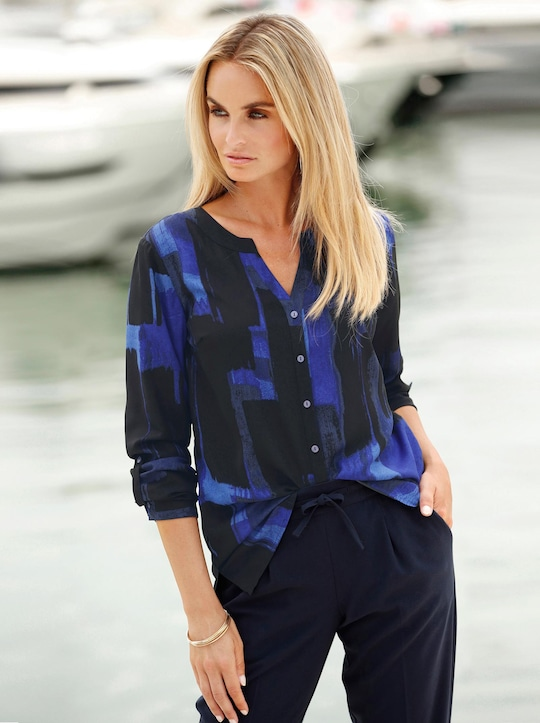Bluse - schwarz-royalblau-bedruckt