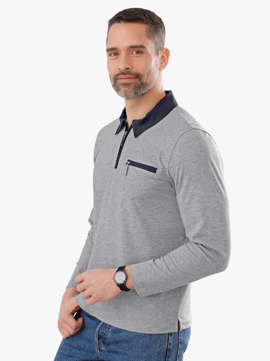 Poloshirt - hellgrau-meliert