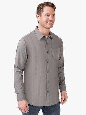 Hemd met lange mouwen - taupe gestreept