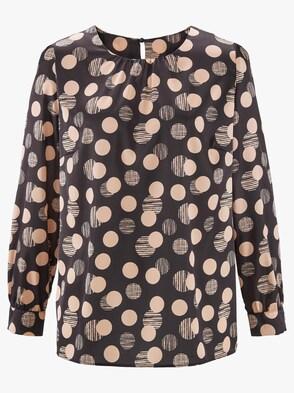Bluse - schwarz-caramel-bedruckt