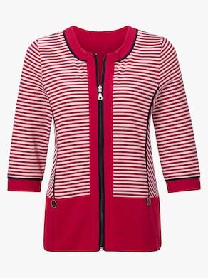 Collection L Shirtjacke - rot-geringelt
