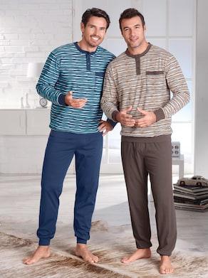 Pyjama's - blauw + naturel