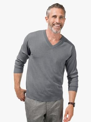 V-Pullover - grau-meliert