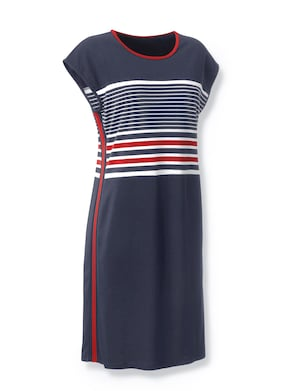 Collection L Jersey-Kleid - erdbeere-marine-gestreift