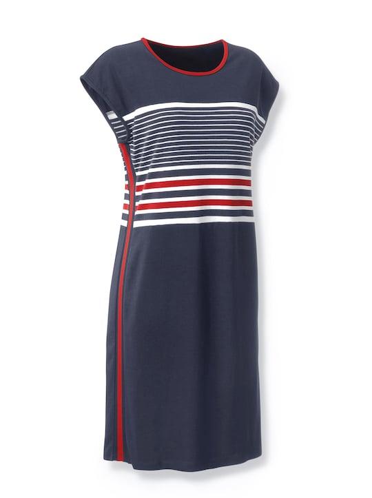 Jersey-Kleid - erdbeere-marine-gestreift