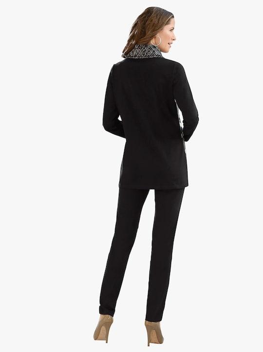 Lang shirt - zwart/beige geprint