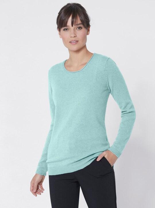 Kaschmir-Pullover - aqua-meliert