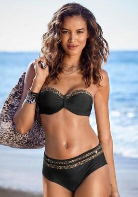 LASCANA Bügel-Bandeau-Bikini-Top - schwarz-leo