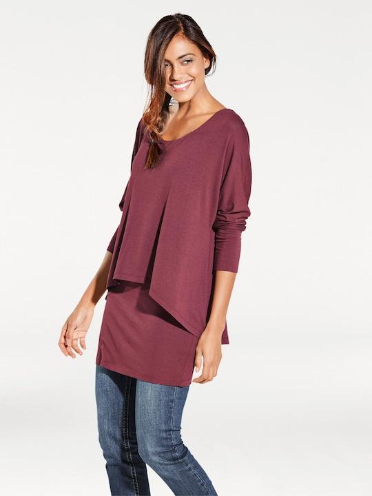 Linea Tesini Rundhals-Shirt - bordeaux