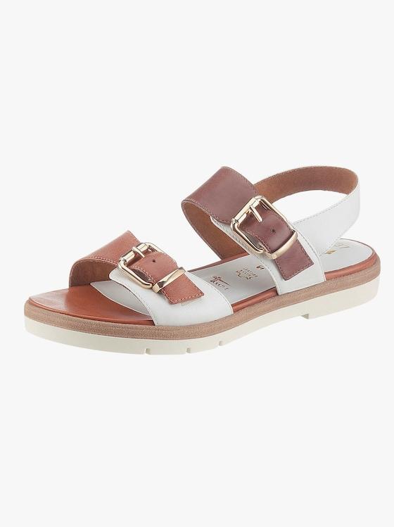 Sandale - weiß-braun