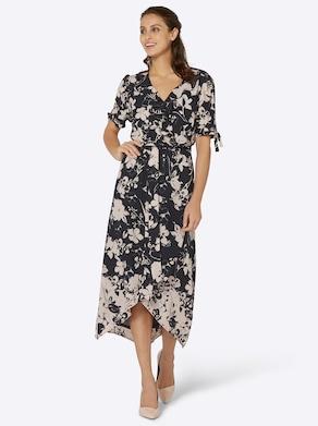 Kleid - schwarz-beige-bedruckt