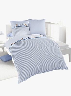 Bettwäsche - grau-blau-bedruckt
