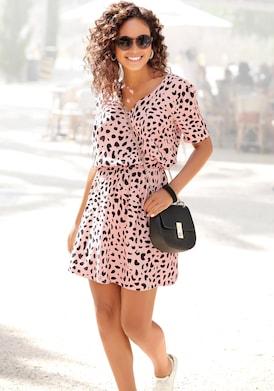 Buffalo Sommerkleid - rose-schwarz-bedruckt