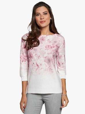 Pullover - ecru-rosé-bedruckt