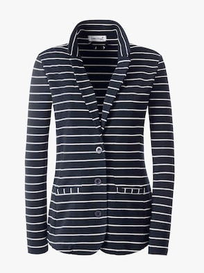 Jersey blazer - marine/wit gestreept