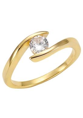 Firetti Zilveren ring - goudkleurig/wit
