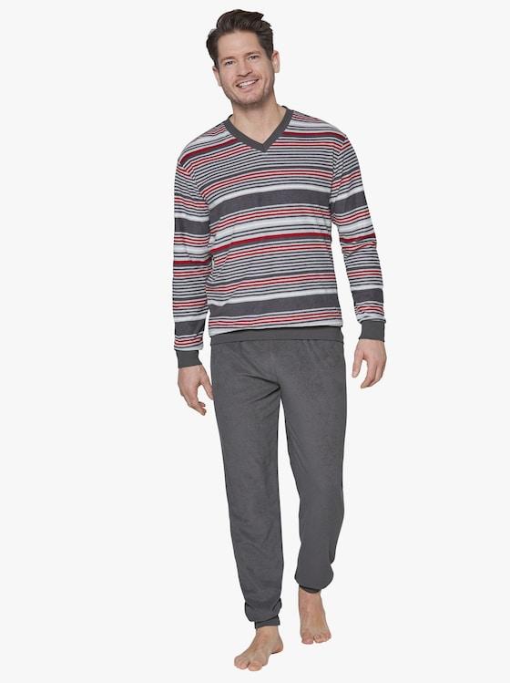 Schlafanzug - grau-bordeaux