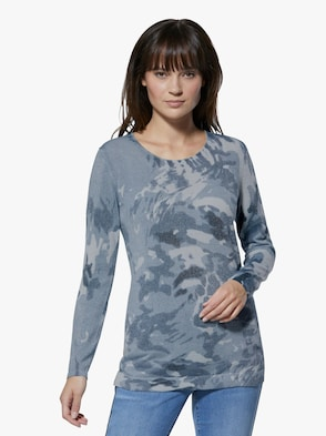 Pullover - blau-bedruckt