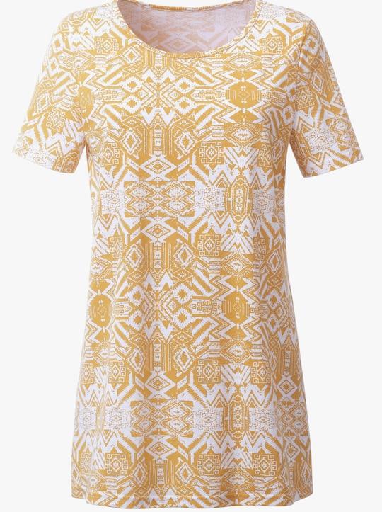 Lang shirt - oker geprint