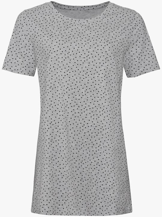 Longshirt - grau-schwarz-bedruckt