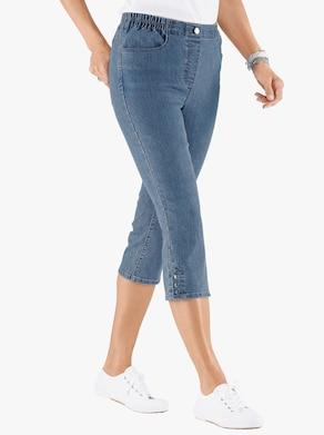 Capri džínsy - bielená modrá