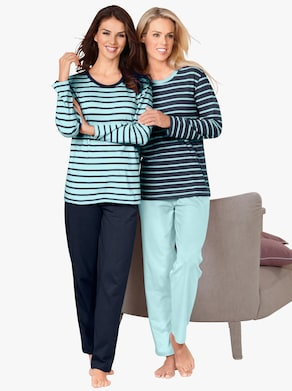 wäschepur Schlafanzüge - marine-geringelt + mint-geringelt