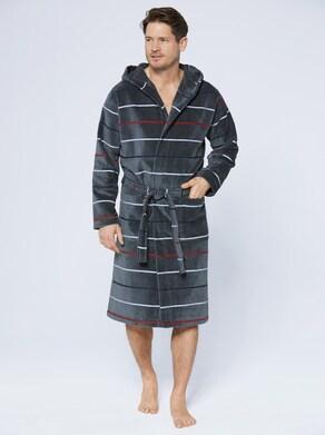 Bademantel - grau-geringelt