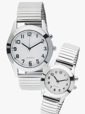 Uhr mit Hintergrund-Beleuchtung - Silber