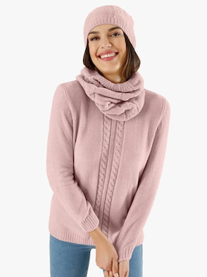 Set: Schal und Mütze - rosé