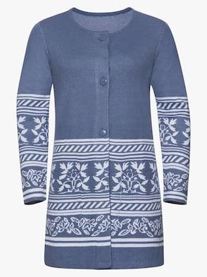 Dlouhý pletený kabátek - džínová modrá-vzor