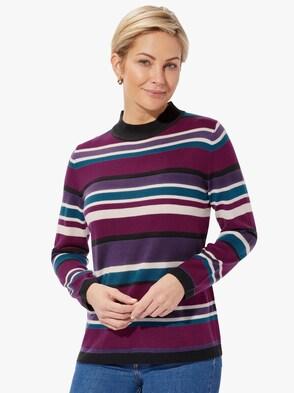 Pullover - brombeer-petrol-geringelt